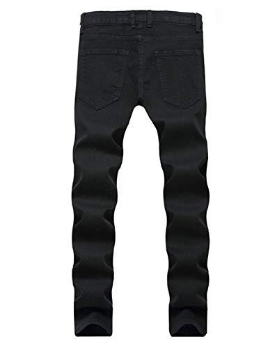 Slim Vintage Rosa Fit In Jeans Moda Denim Uomo Da Nero Ricamati Stretch Pantaloni Strappati 0w0g7X