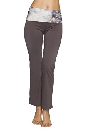 Just One Women's Sporty Foldover Top Yoga Pants (Charcoal Galaxy, S)