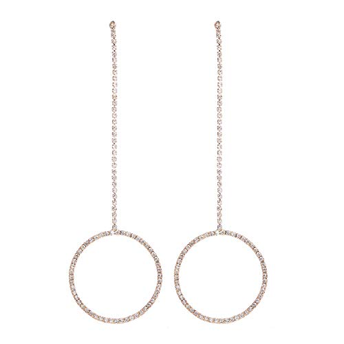 (Rosemarie Collections Women's Crystal Rhinestone Circle Drop Extra Long Shoulder Duster Hypoallergenic Earrings)
