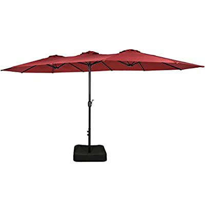 Iwicker 15 Ft Double-Sided Patio Umbrella Outdoor Market Umbrella with Crank, Umbrella Base Included
