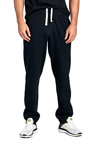 (ProGo Men's Closed Bottom Casual Regular Fit Fleece Sweatpants with Elastic Waist (Black, Medium))