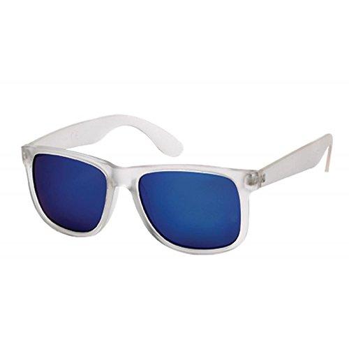 Sonnenbrille transparent Wayfarer Nerd 400 UV verspiegelt hoher Steg getönt blau 2kmVUc