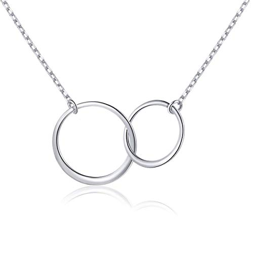 ISAACSONG.DESIGN Sterling Silver Two Interlocking Eternity Round Circle Pendant Necklace, Earring and Ring Minimalist Jewelry Set for Women (Two Interlocking Circle Necklace)