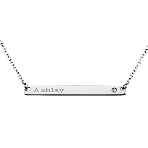 Sterling Silver Narrow Engravable Bar Necklace with Genuine Diamond Accent and 16
