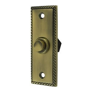 Solid Brass Rectangular Rope Bell Button (Antique Brass) by - Button Deltana Brass