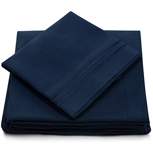 California King Bed Sheets - Navy Blue Luxury Sheet Set - Deep Pocket - Super Soft Hotel Bedding - Cool & Wrinkle Free - 1 Fitted, 1 Flat, 2 Pillow Cases - Dark Blue Cal King Sheets - 4 Piece