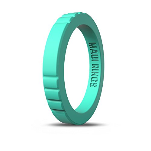 (MAUI RINGS Best Woman Silicone Wedding Ring for Women Stackable Silicone Rings Wedding Bands for Women Create The Perfect Womens Silicone Wedding Ring Band Thin Silicone Rubber (Emerald Turquoise, 7) )