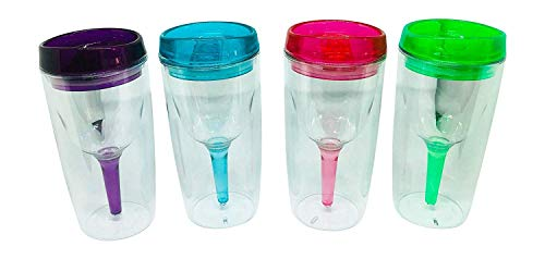 DinerGirl - Plastic Wine Tumblers with Lids - Leak-Resistant and Reusable, Double-Walled, Stemless, and Insulated - Great for Camping, Beaches, Pools, and Parties - Set of 4