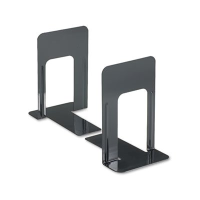 Economy Bookends, Nonskid, 5 7/8 x 8 1/4 x 9, Heavy Gauge Steel, Black, Sold as 1 Pair, 2 per Pair - Edge Reinforced Bookcase Finish