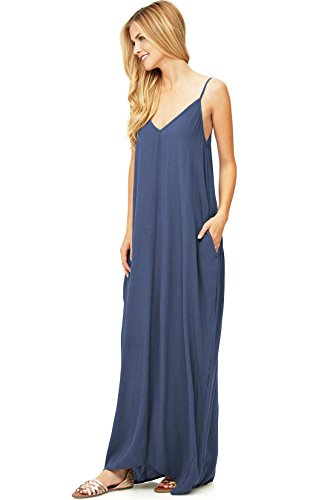Love Stitch Women's Light Linen Simple Maxi Dress (M/L, Dn Blue)