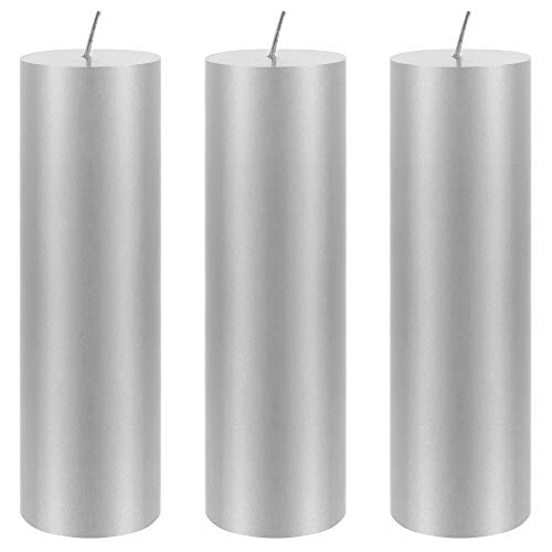 """Mega Candles 3 pcs Unscented Silver Round Pillar Candle 
