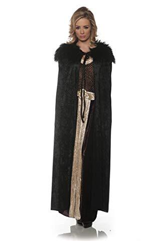(Underwraps Women's Panne Renaissance Cape with Faux Fur Trim-Black, One Size )