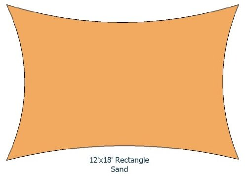 12 X 18 Sand Color Premium Quality Heavy Duty Sun Shade Sail Made in USA