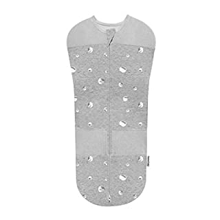 Happiest Baby Sleepea 5-Second Swaddle - 100% Organic Cotton Baby Swaddle Blanket - Doctor Designed Promotes Healthy Hip Development - Prevents Accidentally Scratching Face (Graphite Planets, Medium)