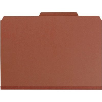Smead 19092 Pressboard Classification Folders Self Tab Legal Eight-Section Red 10/Box by Smead