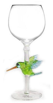 Hand-blown Hummingbird Wine Glass by Yurana Designs - W106
