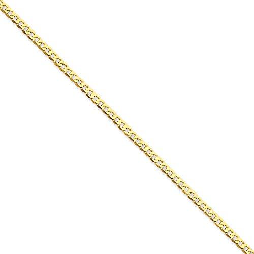 2,4 mm 14 carats chaîne Bracelet gourmette-Biseauté - 7 mm-Fermoir mousqueton-JewelryWeb