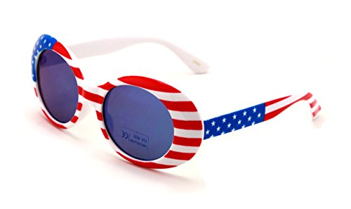 V.W.E. Vintage Sunglasses UV400 Bold Retro Oval Mod Thick Frame Sunglasses Clout Goggles White USA American Flag (Blue Mirror - Sunglasses U V