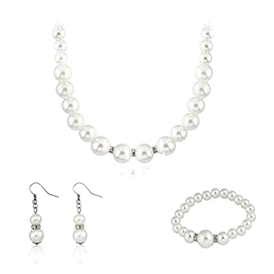 Ezing Fashion Jewelry Simulated White Pearl Necklace Earrings Set Bracelet