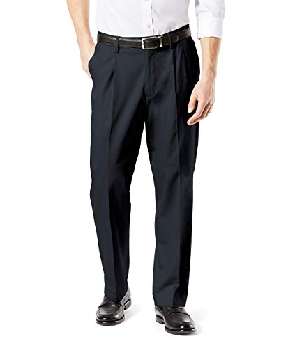 Dockers Men's Relaxed Fit Signature Khaki Lux Cotton Stretch Pants-Pleated D4, Charcoal Heather, 34W x 29L (D4 Fit Relaxed Flat Dockers Front)