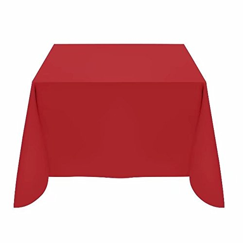 Silk Love Tablecloth - 54 x 54 Inch -Red-square Polyester Table Cloth, Wrinkle,Stain Resistant - Great for Buffet Table, Parties, Holiday Dinner & More (Polyester Square Table)