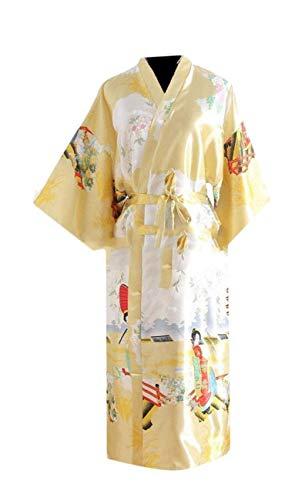 Semplice Moda 3 Nightdress Fiore Manica Glamorous Estivi Vestaglia Kimono Pigiami Raso Cintura Gelb Inclusa Eleganti Modello neck Casual Accappatoio Donna 4 Comodo V 6zt8wHq
