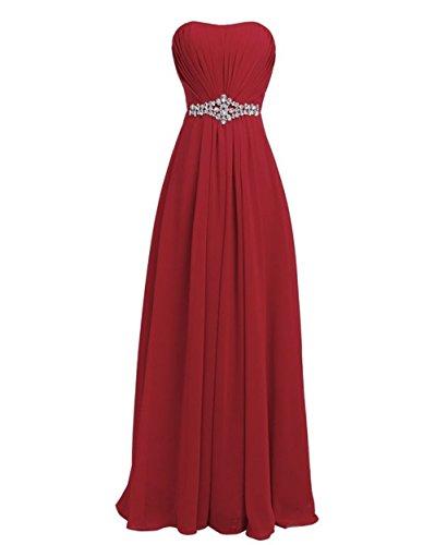 Schulterfrei Damen Crystal Red Fanciest Dark Lang Brautjungfernkleides Abendkleider 8gfzxT