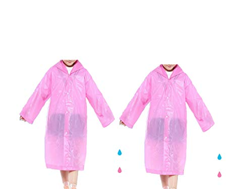 - 2 Pack Raincoat for Adults & Kids White Pink Blue Waterproof Button Rain Poncho Jacket with Pockets (Kids Pink)