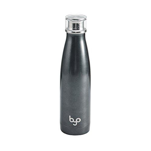 BYO 5212982 Perfect Seal Vacuum Insulated Double Wall Bottle, 17-Ounce, Metallic Gunmetal ()