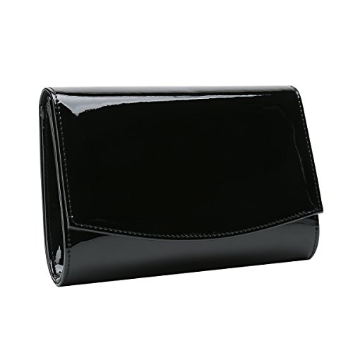 - Charming Tailor Patent Leather Flap Clutch Classic Elegant Evening Bag Chic Dress Purse (Black)
