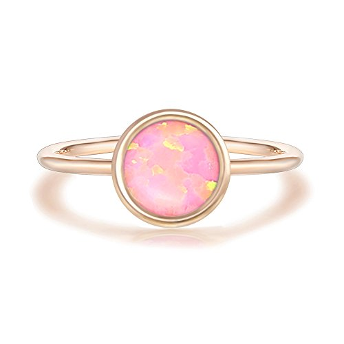 Opal White Ring - PAVOI 14K Rose Gold Plated Stackable Ring Created White Opal Stacking Ring
