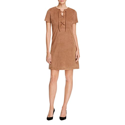 Alison Andrews Womens Faux Suede Lace-up Casual Dress Brown L