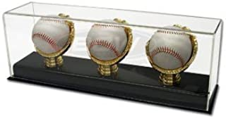 Triple Gold Glove Cricket Ball Deluxe Acrylic Display