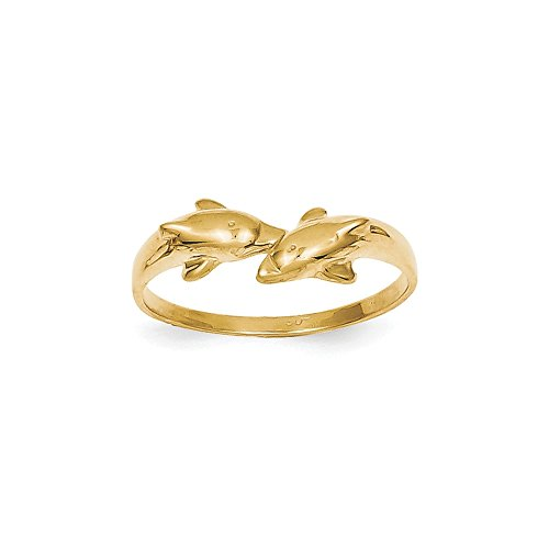 FB Jewels Solid 14K Yellow Gold Dolphin Kissing Dolphin Ring Size 9.5 ()