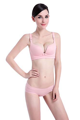 Buckle Thin Qirui Set One Breastfeeding Section Front Pink Seamless Rims Underwear piece Bra Without ABA7gqn