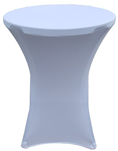 """32 Round x 43"""" Tall Spandex Fitted Table Cover for Folding Bar Height Tables (White)"""