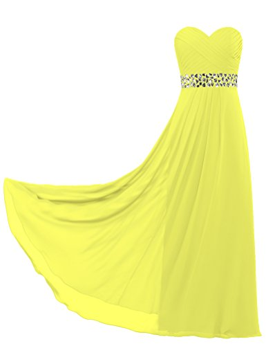 ANTS Weddings for Long Yellow Strapless Bead Dresses Chiffon Women's qqSZwA