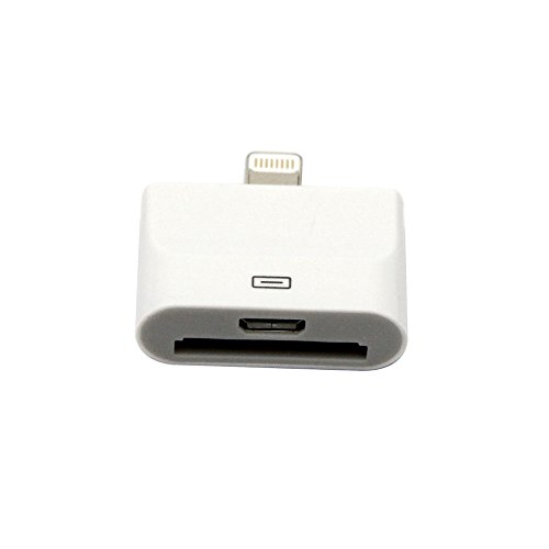 Caxico 30 pin to 8 pin Charge & Sync Adapter Converter Compatible with iPhone 5, iPad, iPad Mini, iPod Touch, iPod (White) (WHITE, 1) - Ipod Nano Video Converter