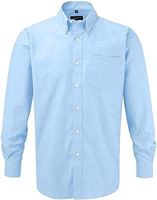 Jerzees Russell Collection - Camisa de Manga Larga Oxford, fácil Cuidado, también Disponible en más tamaños, Hombre, R-932M-0, Blue - Oxford-Blau, Small: Amazon.es: Deportes y aire libre