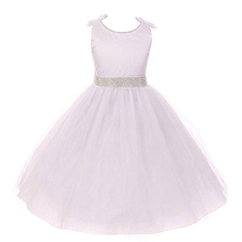 Kiki Kids Big Girls White Tulle Beads Dull Satin Bows Flower Girl Dress 12 from Kiki Kids