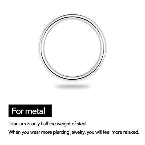 G23 Titanium Septum Ring Hinged Nose Rings for Women 16G Hoop Segment Rings Sleeper Earrings Body Piercing Jewelry Black/Silver/Gold/Rose Gold Rings, Diameter 6mm,8mm,10mm(6pcs) (Gold)