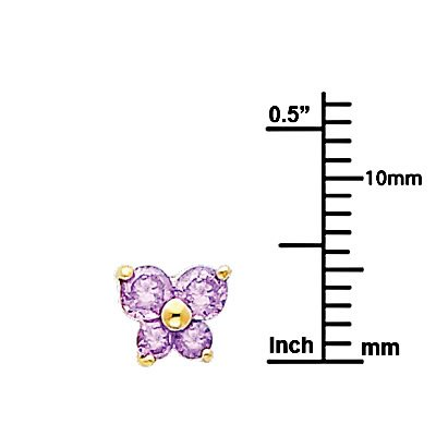 Wellingsale 14K Yellow Gold Polished Butterfly Birth CZ Cubic Zirconia Stone Stud Earrings With Screw Back June