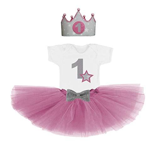 Conjunto primer cumpleaños 1 año para bebes niñas rosa ...