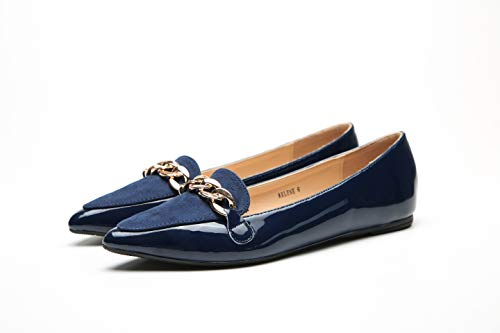 Mila Lady Arlene Stylish Patent Leather Pointed Toe Comfort Slip On Ballet Dress Flats Shoes for Women,Navy 9]()