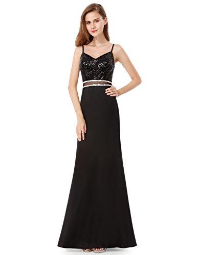 Tie Back Floor - Ever-Pretty Womens Sleeveless Floor Length V-Neck Sequins Black Tie Affair Dress 8 US Black
