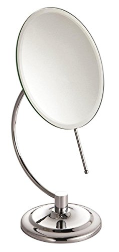 Canyon Luxury C - Shaped Large Round Chrome Modern Free Standing Pedestal Cosmetic Shaving Bathroom Mirror by Blue Canyon