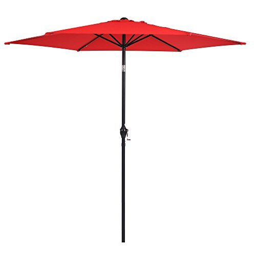 APEX LIVING 9 Ft Patio Umbrella Outdoor Table Market Umbrella with Carry Bag 6 Ribs Red