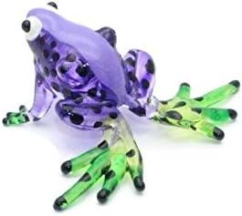 Green FIGURINE ChangThai Design Lampwork COLLECTIBLE MINIATURE HAND BLOWN Art GLASS Frog