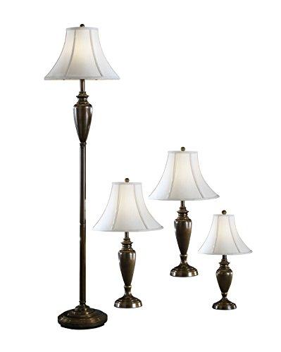 Antique Brass Four (Signature Design by Ashley L603186 Caron Collection Lamp Set, Set of 4, Antique Brass)