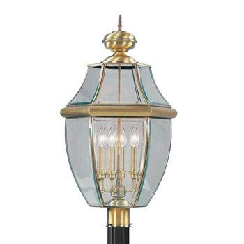 Livex Lighting 2358-01 Monterey - Four Light Outdoor, Antique Brass Finish with Clear Beveled Glass ()